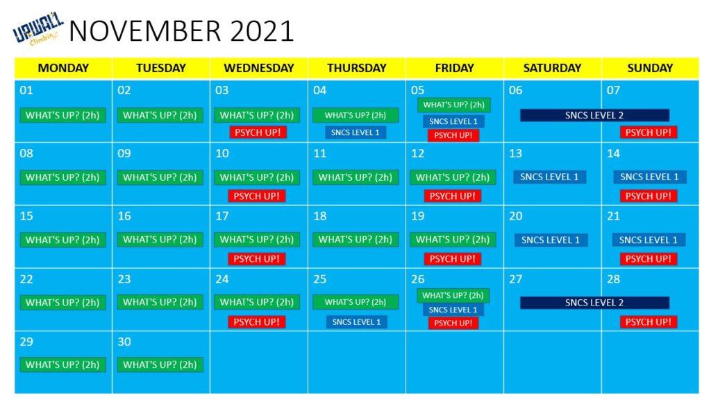 climb with upwall calendar november